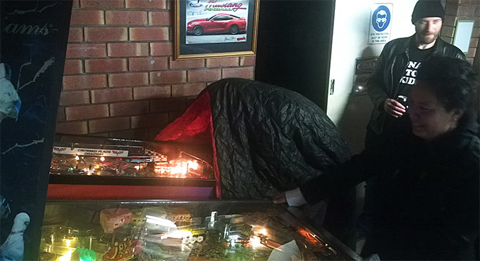 It was so cold during the 2015 LMPO, that some people had to find inventive new ways to play pinball.