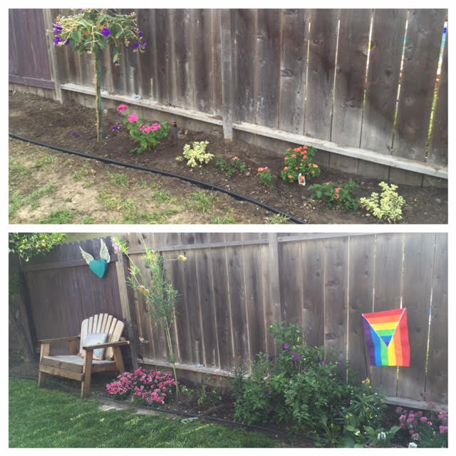 This is a before and after of the yard once we got our hands on it.