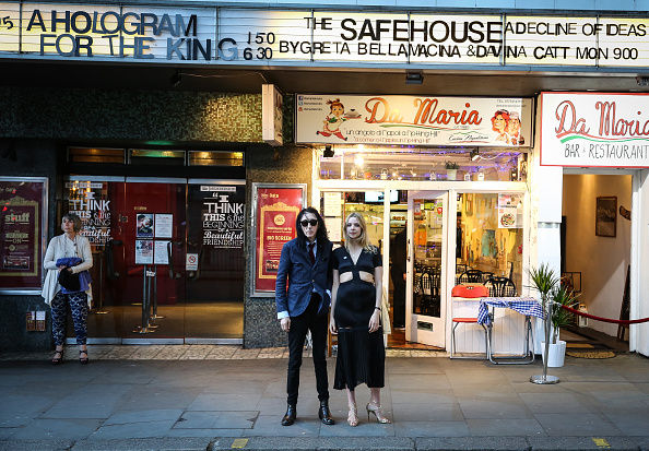 John Cooper Clarke and Greta Bellamacina at the opening.