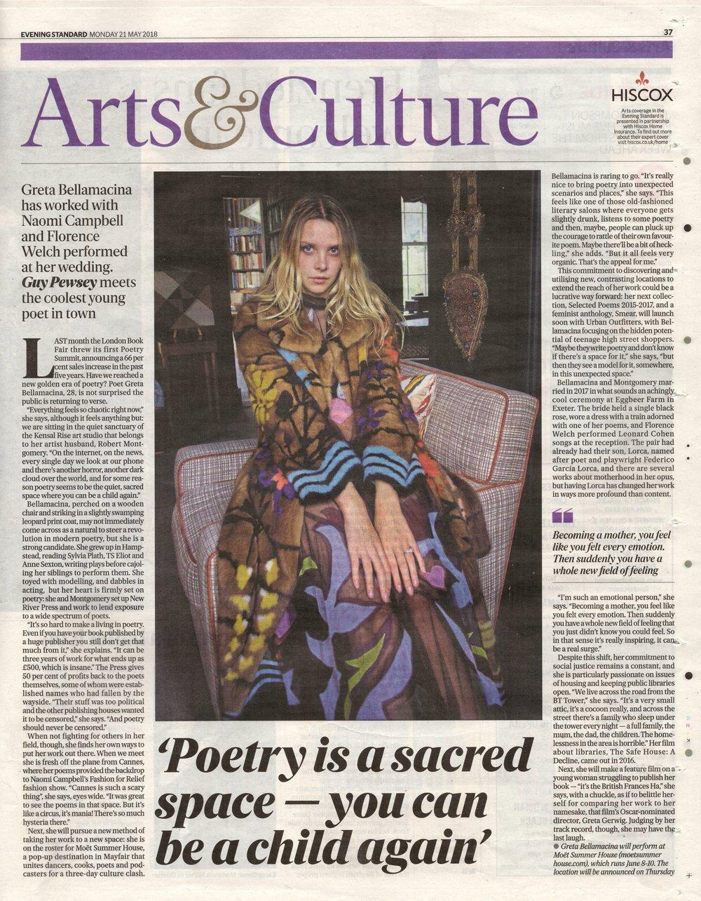 Greta Bellamacina discusses New River Press in the Evening Standards newspaper.