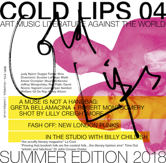 Greta and Robert on the cover of the latest issue of Cold Lips poetry magazine started by Kirsty Alison.   https://coldlips.co.uk/2018/04/25/04-launch-party-%F0%9F%96%A4-gil-de-ray💥-poetry-to-save-the-world💥-adam-j-harmer-live-💥djs-tess-parks-chris-rotter/