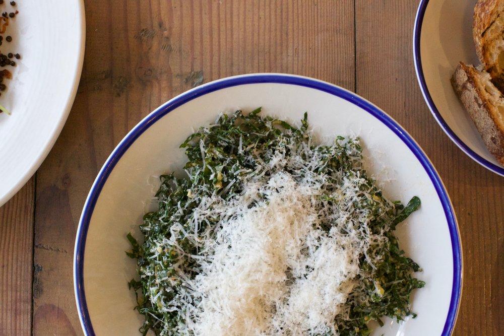 Shredded Kale,Meyer Lemon Vinaigrette,     Parmigiano-Reggiano
