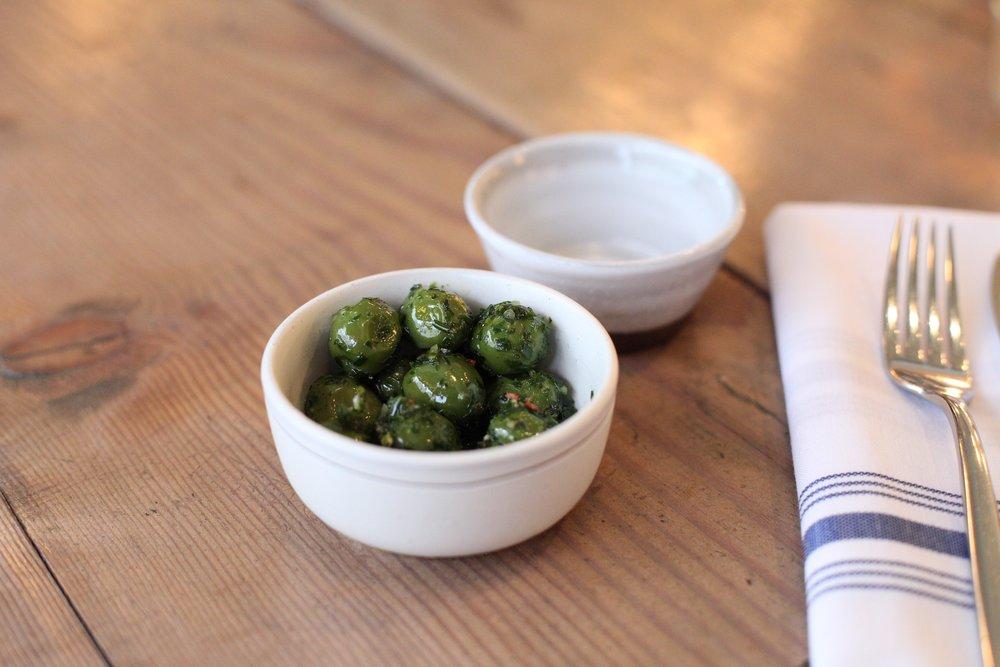 Smoked Castelvatrano Olives, Bay Leaf, Rosemary, Lemon
