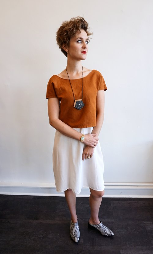 075e9b559e9d LOOK 1: Frances is wearing the Lacausa easy slip in panna cotta ($58);  Lacausa reversible linen top in maple ($72); Sylca wood & marble resin  adjustable ...