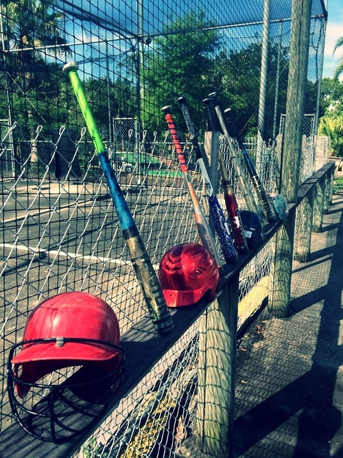 Batting Cages   Batter up! We have four batting cages with pitching speeds at 45mph, 55mph, and a softball pitch, so Dad can finally show us 'how it's done'.�