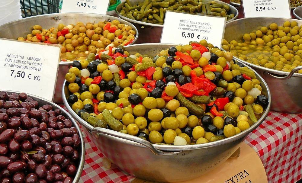 Olives at a Mediterranean market