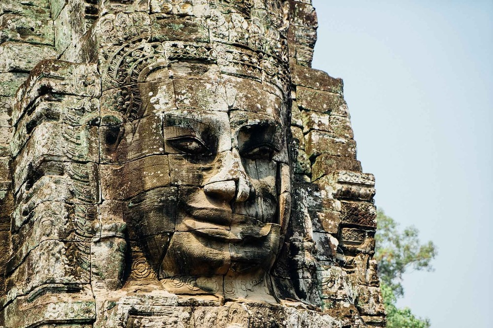 Angkor Wat in Cambodia. The initial design and construction of this religion temple took place in the 12th century.