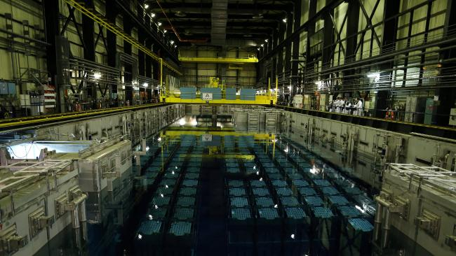 Spent fuel from nuclear reactors inside a French nuclear waste reprocessing plant. Picture: AFP