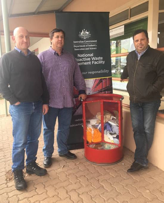 Experts: Mark Moore, Dr Geoff Currie and Hef Griffiths at the ANSTO shopfront in Kimba.