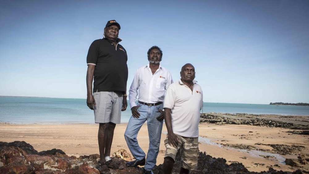 Leaders of the Rirritjinga Aboriginal Corporation, Bakamumu, Witiyana and Wanyubi Marika.
