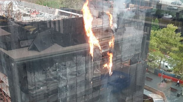 It appeared the fire was on the scaffolding of the building.  Photo: Supplied