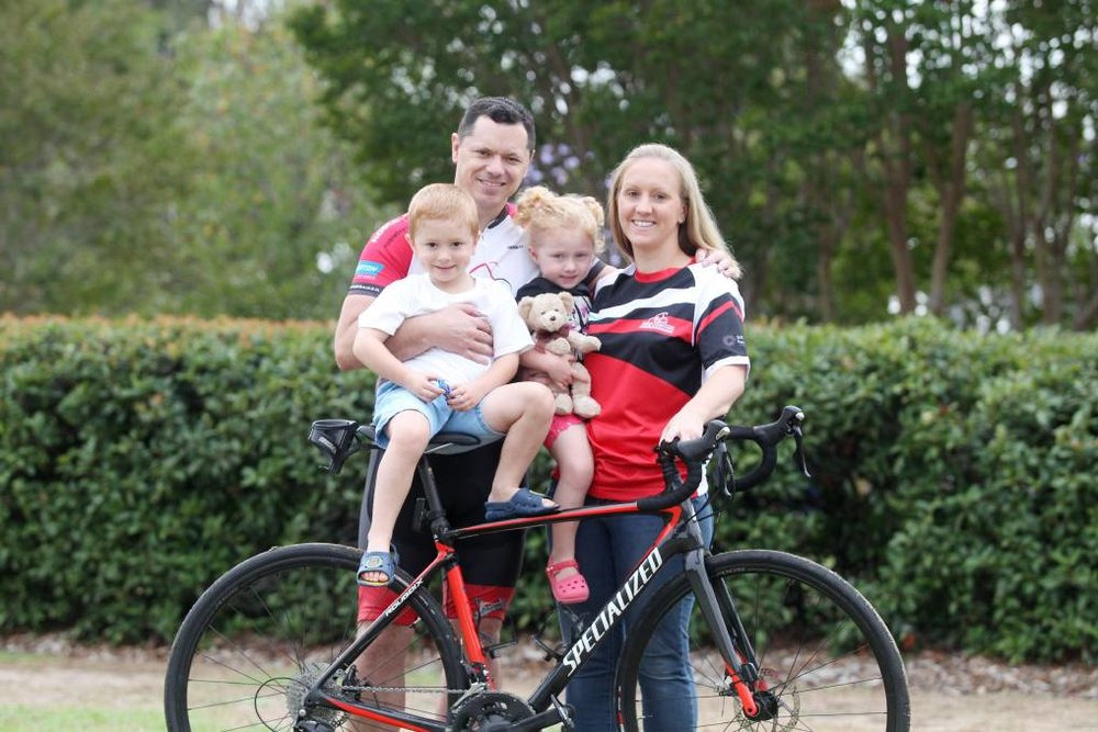 Family effort: Graham and Nadine Belfield with their children Mitchell and Breanna are ready for the Sydney to CAMberra. Picture: Chris Lane