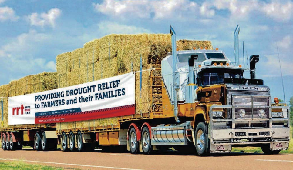 FREE HAY: The Brethren Rapid Relief Team (RRT), who made a significant contribution to local drought relief locally and nationally, are helping Goulburn with their hay distribution at the recreation area on Saturday. Photo:suppliedRRT