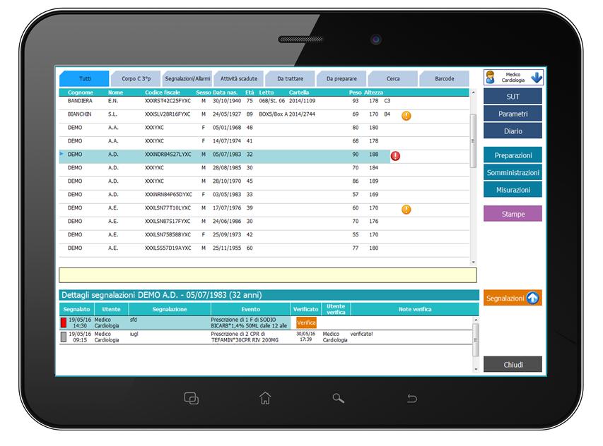 Dashboard pazienti - La dashboard pazienti di HEBB elenca i pazienti in carico all'utente collegato, mettendo in evidenza le informazioni cliniche di rilievo e lo stato delle attività di rilevanza clinica necessarie o programmate. Mediante acceleratori permette di accedere agli altri moduli del programma inoltre ha una serie di filtri configurabili che consentono di ricercare più rapidamente i pazienti (tra cui riconoscimento del paziente tramite lettura barcode del braccialetto).Nella parte inferiore della dashboard sono riportate, per ciascuna posizione anagrafica, le segnalazioni e gli allarmi raccolti nel corso del turno di lavoro, facilitando le consegne e la presa in carico dei pazienti da parte del personale incaricato, che può provvedere alla chiusura delle segnalazioni a seconda delle necessità.- Filtri pazienti configurabili- Ricerca pazienti manuale o con codice a barre- Accesso diretto alla scheda unica di terapia, al diario medico infermieristico, alle prescrizioni di attività e misurazioni- Accesso diretto alle attività di somministrazione e rilevazione parametri- Visualizzazione in linea della presenza di rischi dalla banca dati di supporto decisionale- Visualizzazione contestuale di allarmi e segnalazioni pendenti per il passaggio di consegne- Indicatori di attività programmate o in ritardo- Accesso diretto all'elenco delle segnalazioni per le consegne