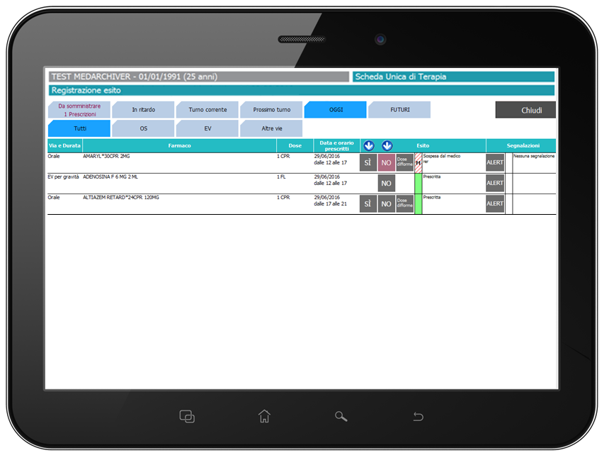 """Somministrazione terapia - Direttamente dalla dashboard si accede al modulo delle liste di somministrazione per documentare l'esito di ogni singolo farmaco prescritto. Nell'ottica di garantire una somministrazione sicura, prima di accedere alla finestra di somministrazione il sistema richiede la scansione del codice a barre stampato sul braccialetto paziente. Una volta letto il barcode del paziente o specificato il motivo della mancata scansione del braccialetto è possibile accedere alla finestra di somministrazione. Mediante dei filtri opportunamente configurati, l'infermiere può visualizzare:1. Le prescrizioni da somministrare nel turno corrente, o in turni precedenti, e non ancora somministrate2. Le prescrizioni che dovevano essere somministrate in turni o orari precedenti, e non ancora somministrate (ovvero le prescrizioni """"in ritardo"""")3. Le prescrizioni da somministrare nel turno corrente4. Le prescrizioni che dovranno o dovevano essere somministrate in un turno successivo (in caso dianticipazioni debitamente motivate)5. La totalità dei farmaci somministrati in data odierna (su base turni del giorno)6. La totalità dei farmaci prescritti in data odierna(su base turni del giorno)Per ogni farmaco prescritto è possibile registrare l'esito della somministrazione, documentando le motivazioni dell'eventuale mancata o ritardata somministrazione, e registrando eventuali segnalazioni per il passaggio di consegne o per il medico responsabile.Ogni operazione di somministrazione viene verificata e documentata secondo le configurazioni stabilite per i livelli di tracciabilità e sicurezza (scansione braccialetto paziente, scansione barcode farmaco, ecc.), secondo le modalità descritte al paragrafo successivo."""