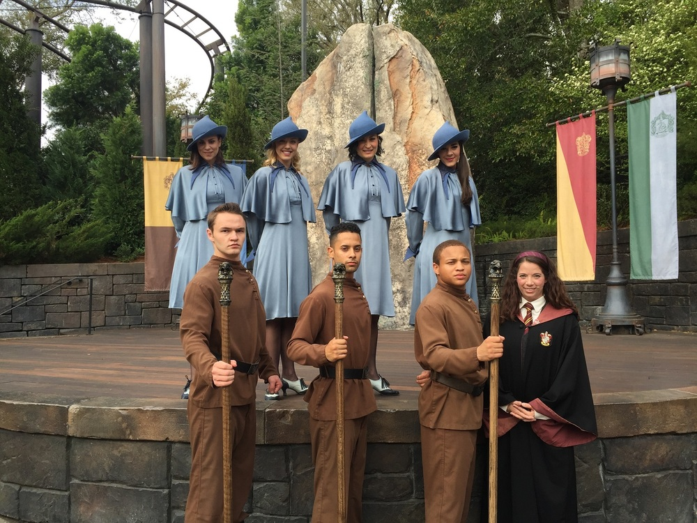 Triwizard Spirit Rally performers posing during the post-show meet and greet.