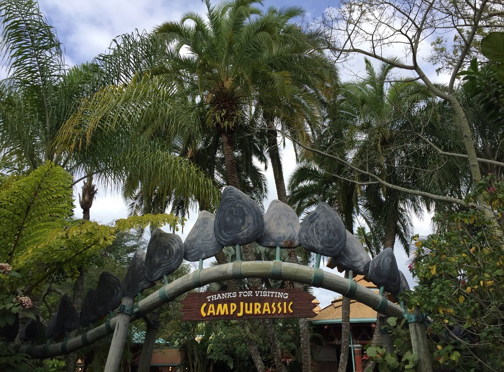 One side of the sign at Camp Jurassic in Islands of Adventure.
