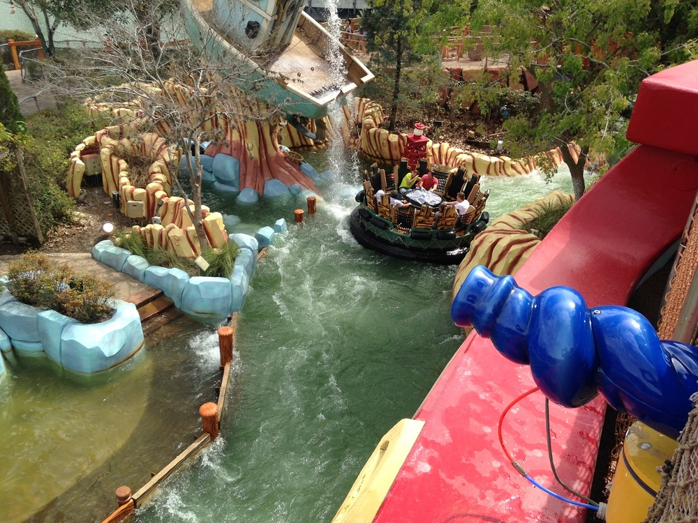 Guests can spray riders on Popeye and Bluto's Bilge-Rat Barges with water cannons mounted on Me Ship, The Olive.