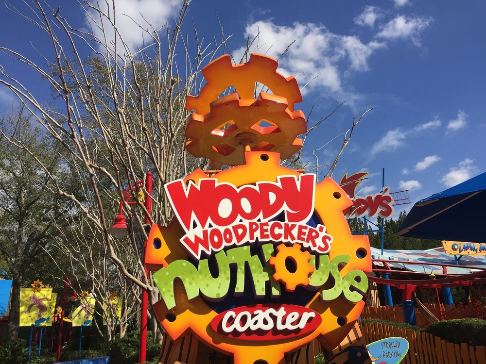 The sign for Woody Woodpecker's Nuthouse Coaster.