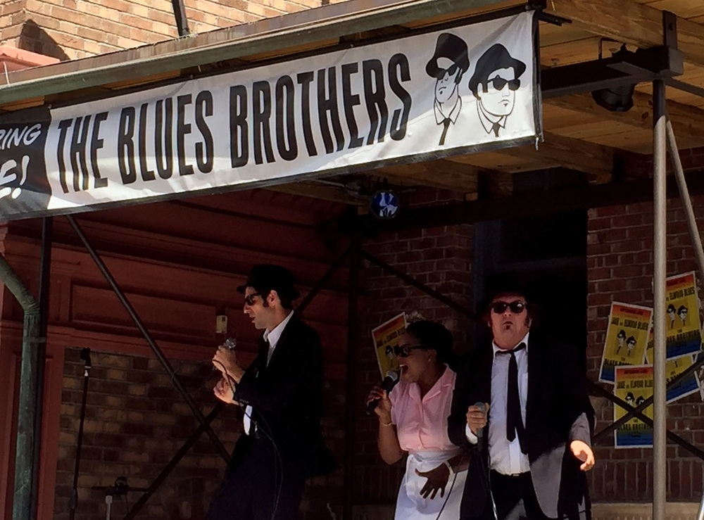 The Blues Brothers and Mabel the singing waitress appearing live on The Blues Brothers Stage in Universal Studios Florida.