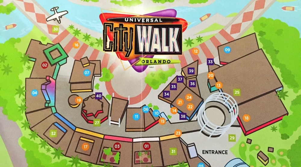 Fossil is represented by the number 34 on this Universal CityWalk Orlando map.