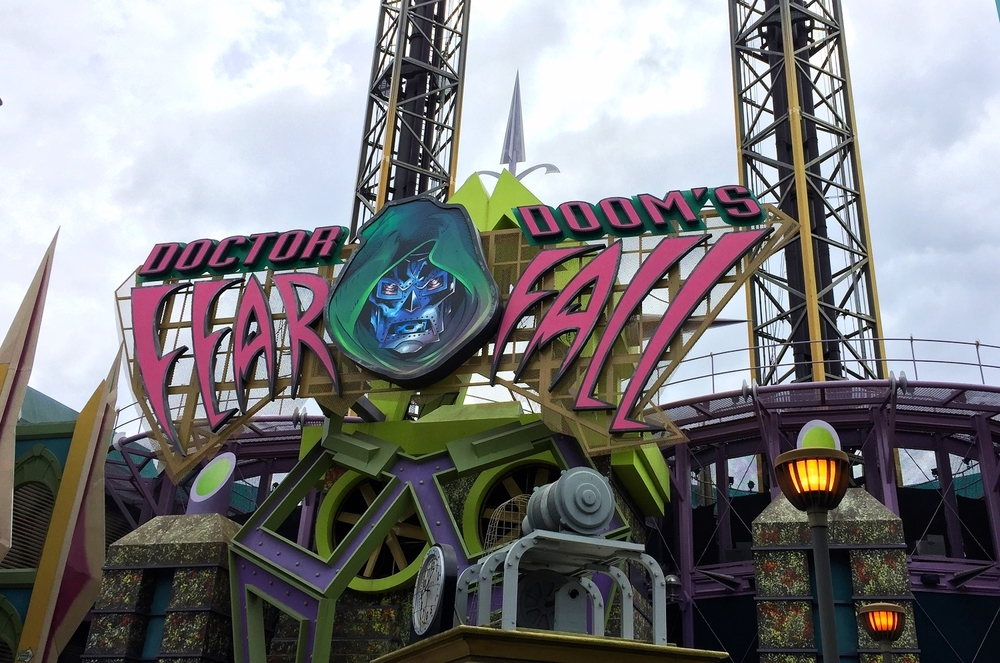 The entrance of Doctor Doom's Fearfall in Islands of Adventure.