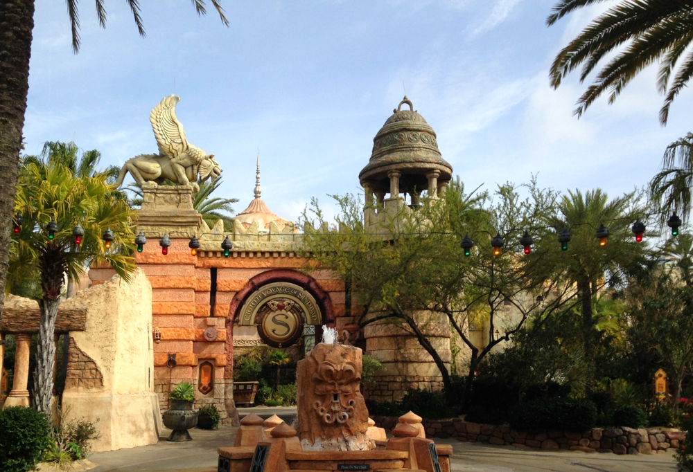 The Eighth Voyage of Sindbad Stunt Show entrance is near The Mystic Fountain.