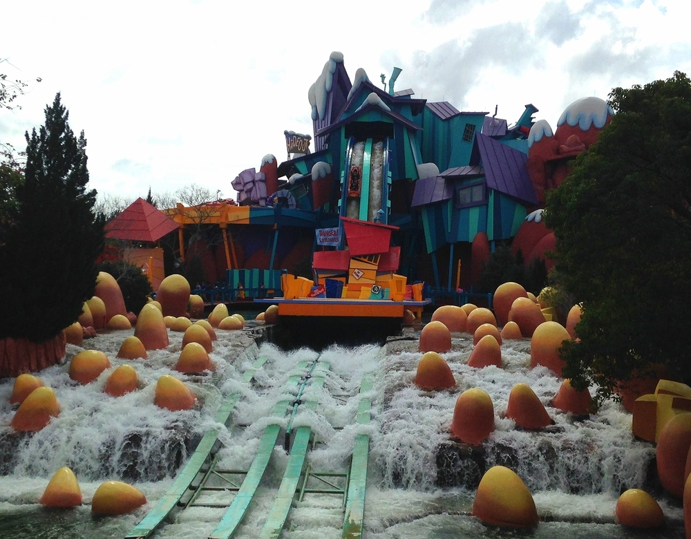 Dudley Do-Right's Ripsaw Falls has a 75-foot drop at the end that sends riders into a pool of water at the bottom.