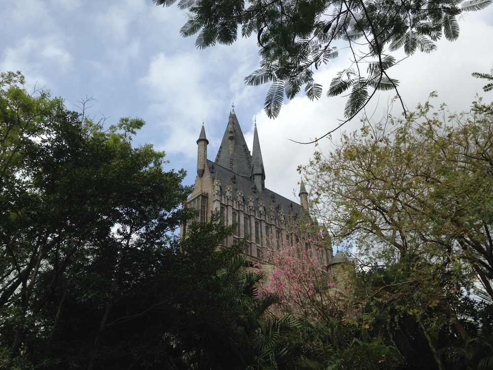 Hogwarts Castle can be seen from other parts of Islands of Adventure. Here is the view from Jurassic Park.