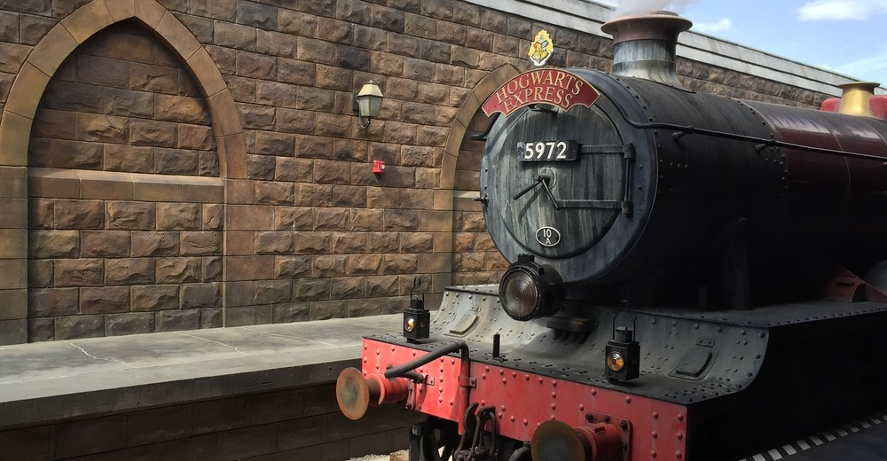 The Hogwarts Express pulling into Hogsmeade Station.