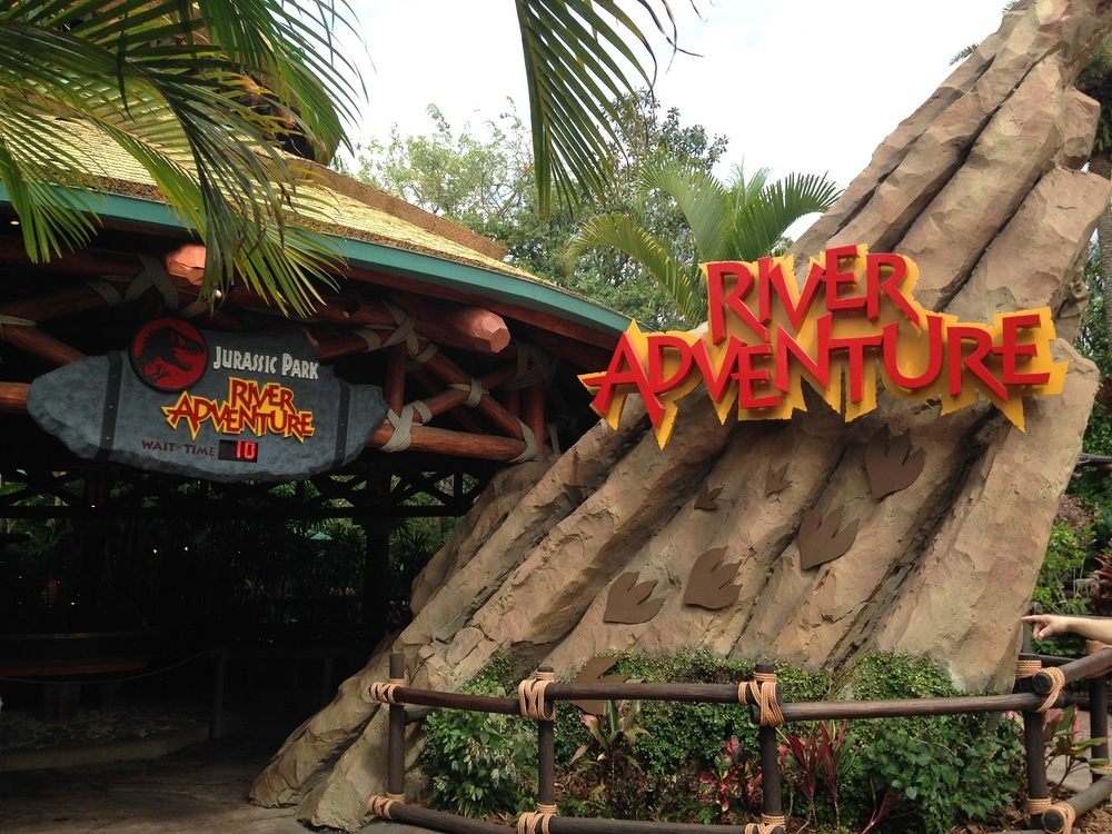 The Jurassic Park River Adventure sign and entrance.
