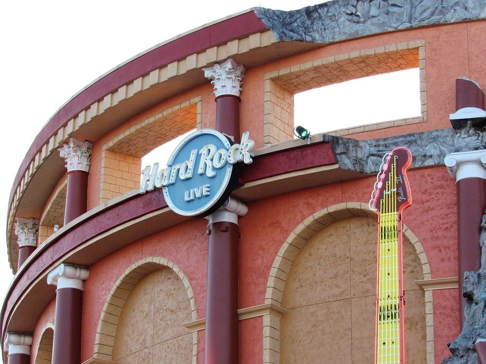 There is a gigantic guitar on the front of Hard Rock Live.
