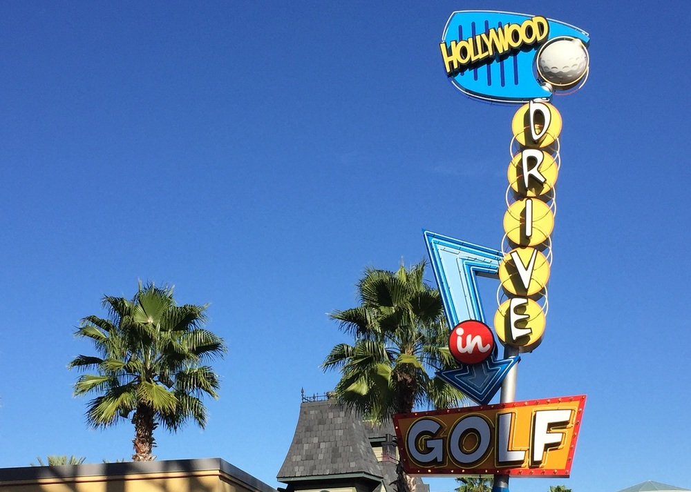 The Hollywood Drive-In Golf sign.