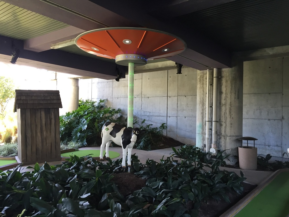 Alien Ship Abducting a Cow at Hollywood Drive In Golf