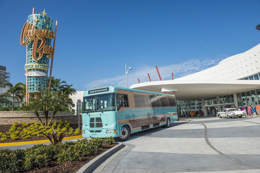 The Cabana Bay bus. Image Credit: Universal Orlando Resort.