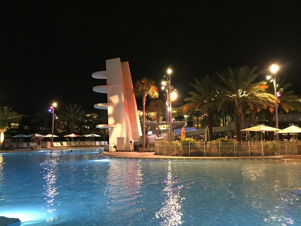Cabana Bay Diving Platform at Night