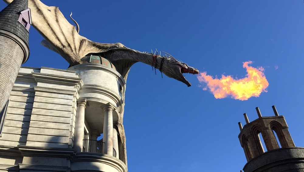 When the Gringotts dragon breathes fire, you can feel the heat when standing on the street below.