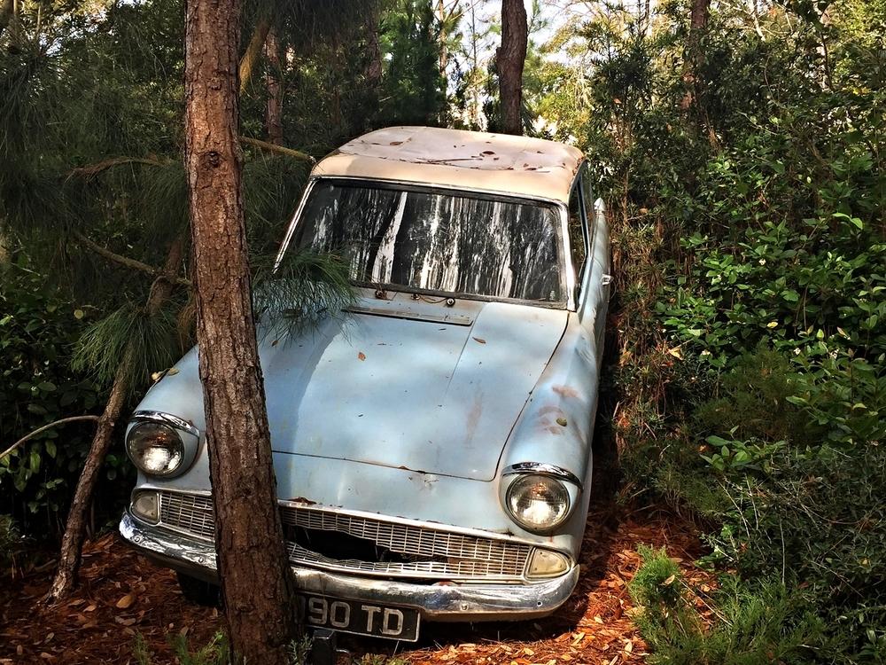 Weasley Family Car in Dragon Challenge Queue