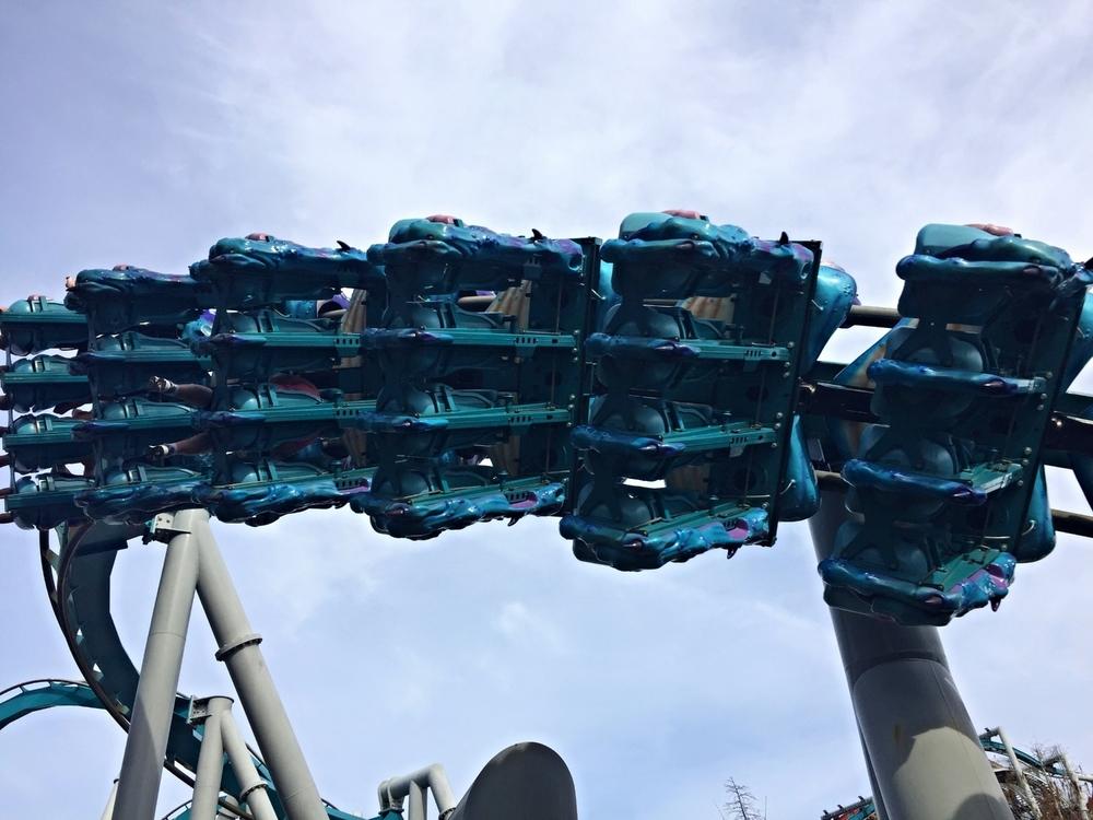 Underside of Dragon Challenge Ride Vehicle