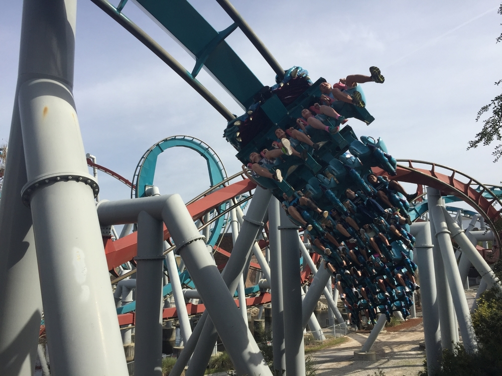 Dragon Challenge Ride Vehicle Zooming Over You