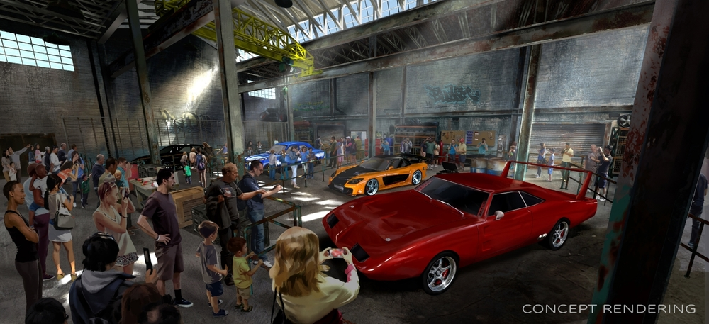 Fast and Furious: Supercharged concept art. Image credit: Universal Orlando Resort.