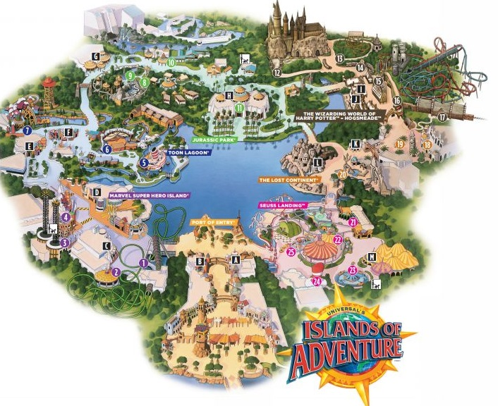Islands of Adventure map. Image credit: Universal Orlando Resort