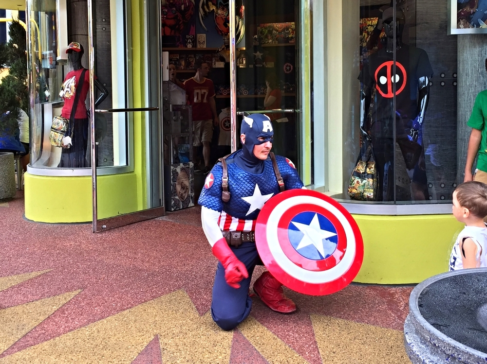 Captain America in Marvel Super Hero Island in Islands of Adventure.
