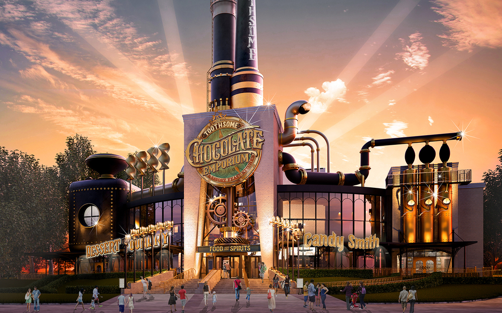 Toothsome Chocolate Emporium and Savory Feast Kitchen concept art. Image credit: Universal Orlando Resort.