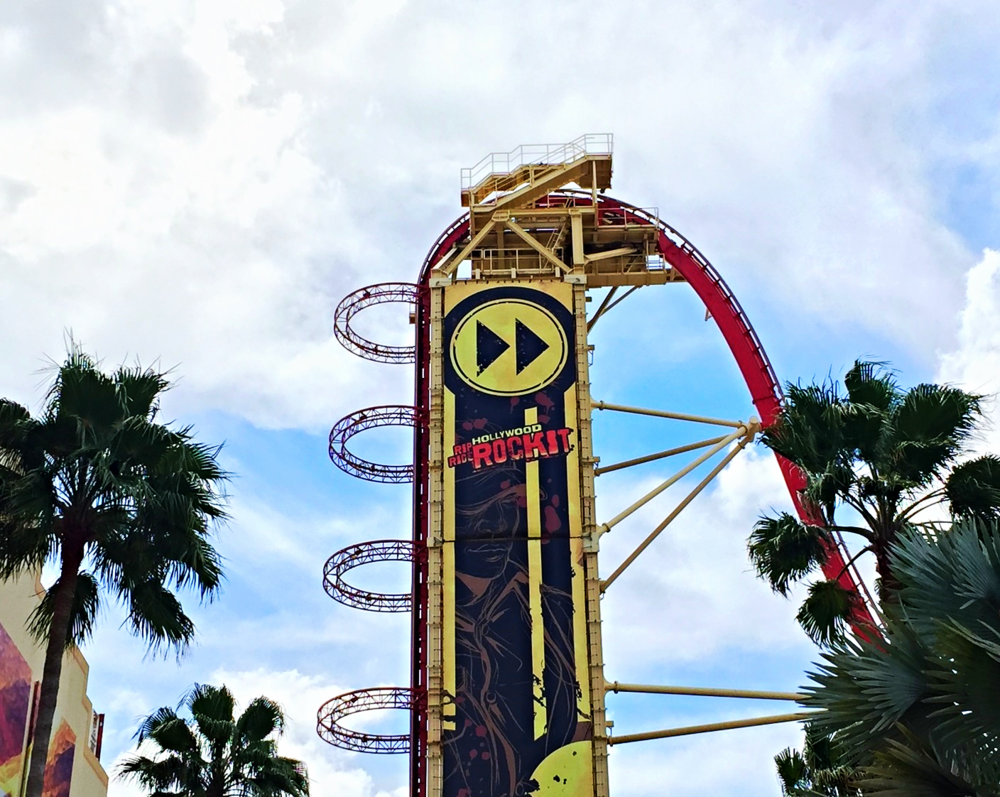 Hollywood Rip Ride Rockit has a 17-story, 90-degree vertical lift hill and a steep first drop.