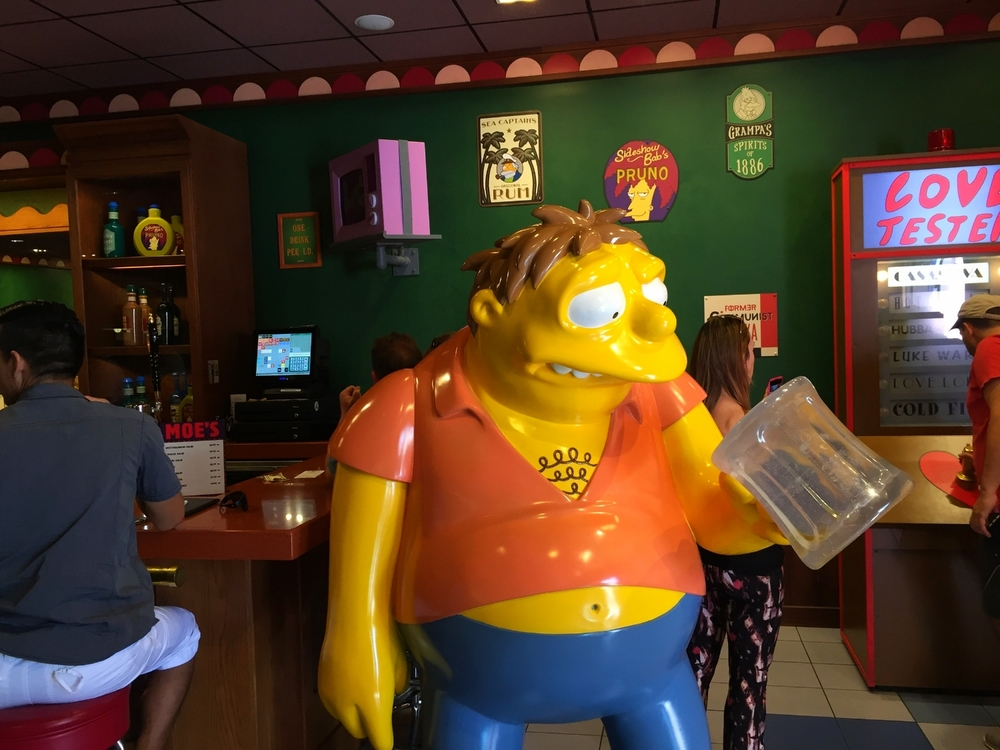 Barney in Moe's Tavern in Universal Studios Florida.