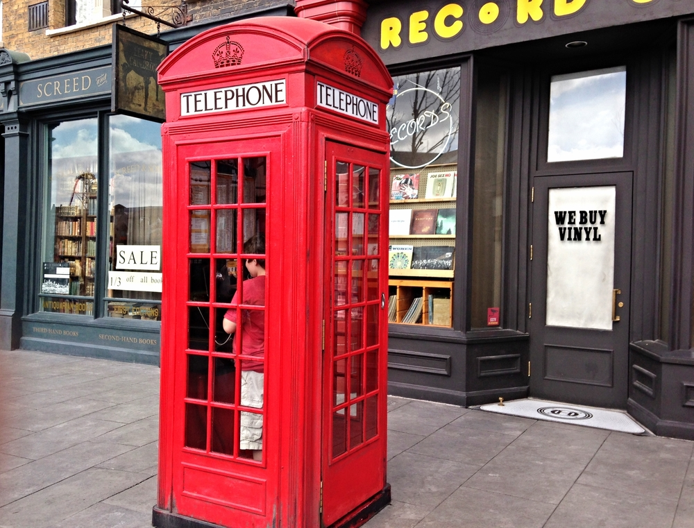 Ministry of Magic telephone booth in London Waterfront area of Universal Studios Florida.