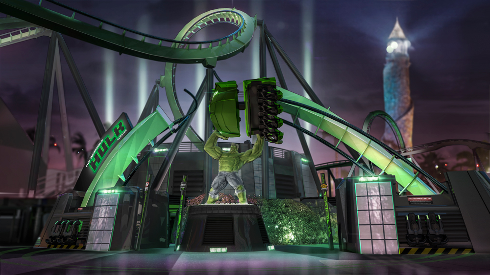 The newly designed marquee for The Incredible Hulk Coaster. Image credit: Universal Orlando Resort.