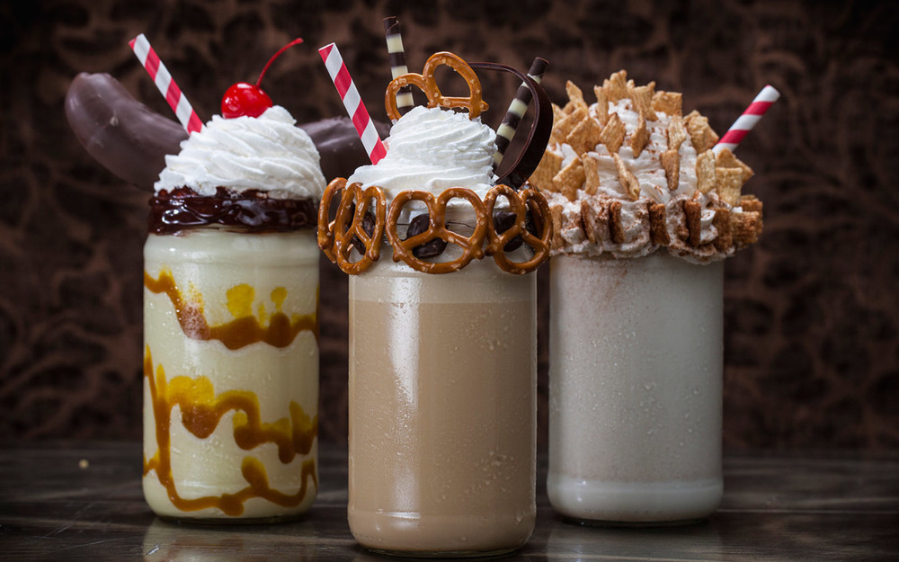 Some of the shakes that will be available at the Toothsome Chocolate Emporium and Savory Feast Kitchen. Image credit: Universal Orlando Resort.