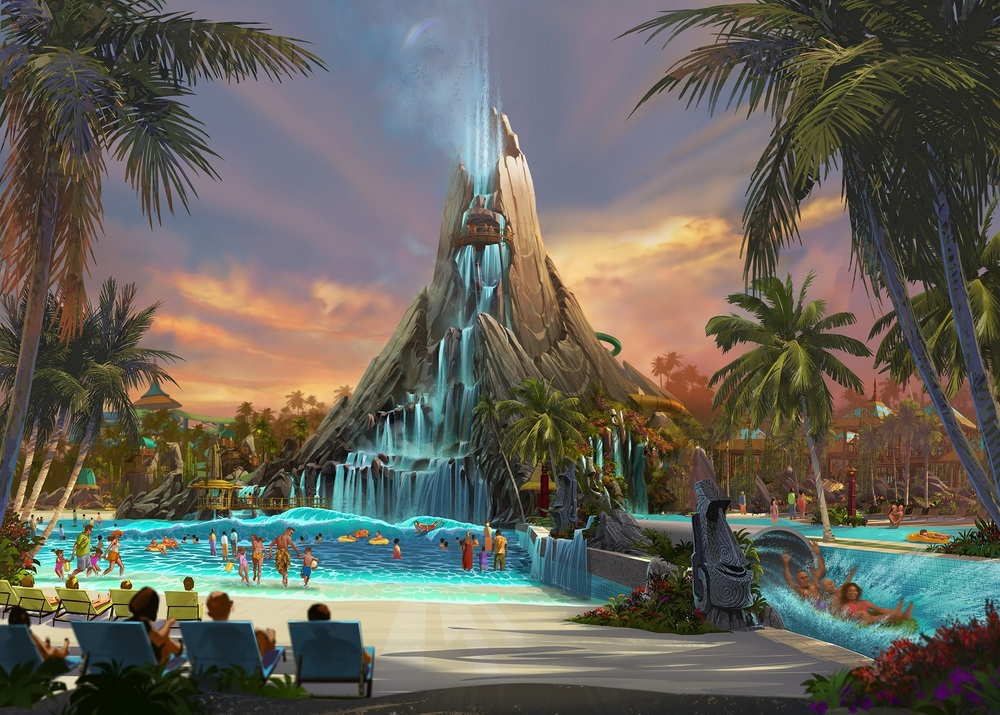 Artist rendering of the centerpiece volcano in Volcano Bay. Image credit: Universal Orlando Resort.